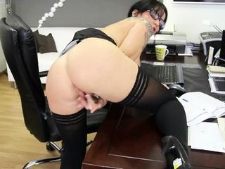 German Secretary Dirty Talk Masturbation in Office on Work