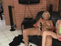 Mom teaching blonde girl toying and old cock riding