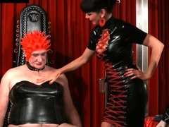 Two uncomplaining slaves of wicked female-dom in latex