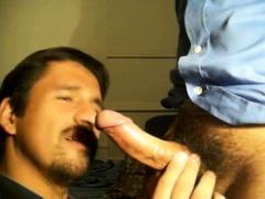 Slave deepthroating his master's huge cock