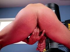 Muscular gym jock wanking for cumshot