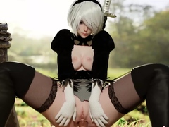 NieR Automata Lovely 2B Sucked and Rides on a Big Thick Dick