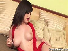 sexy in red teasing on bed